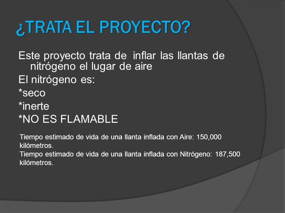 ¿TRATA EL PROYECTO? Este proyecto trata de inflar las llantas de nitrógeno el lugar de aire El nitrógeno es: *seco *inerte *NO ES FLAMABLE Tiempo esti