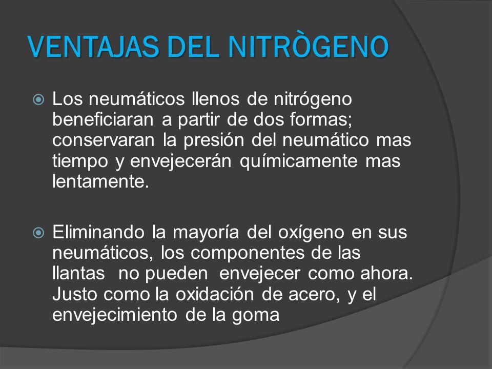 VENTAJAS DEL NITRÒGENO Los neumáticos llenos de nitrógeno beneficiaran a partir de dos formas; conservaran la presión del neumático mas tiempo y envej