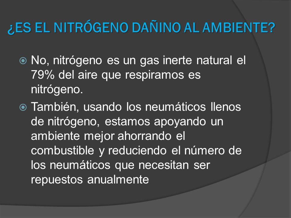 ¿ES EL NITRÓGENO DAÑINO AL AMBIENTE? No, nitrógeno es un gas inerte natural el 79% del aire que respiramos es nitrógeno. También, usando los neumático