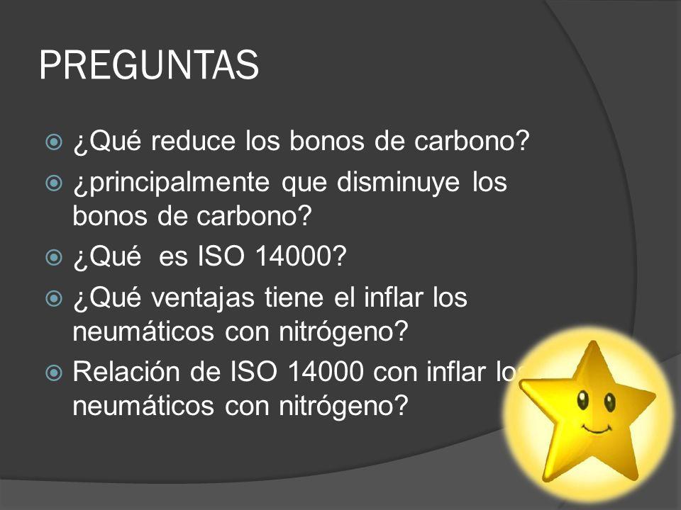 PREGUNTAS ¿Qué reduce los bonos de carbono? ¿principalmente que disminuye los bonos de carbono? ¿Qué es ISO 14000? ¿Qué ventajas tiene el inflar los n