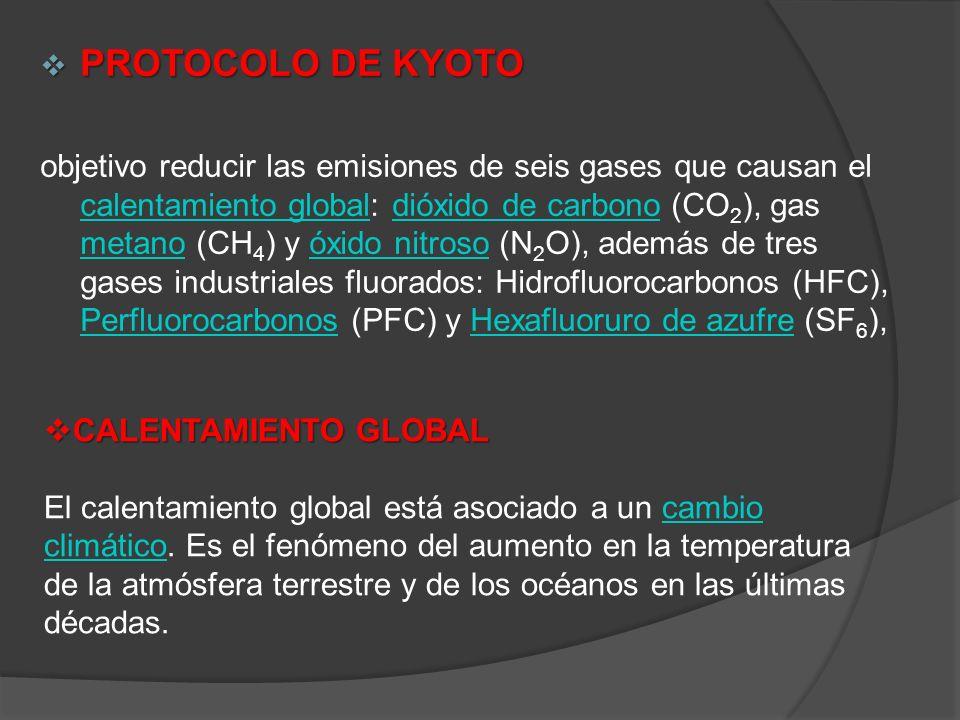 PROTOCOLO DE KYOTO PROTOCOLO DE KYOTO objetivo reducir las emisiones de seis gases que causan el calentamiento global: dióxido de carbono (CO 2 ), gas