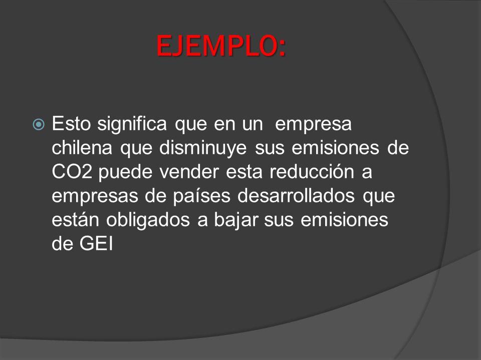 EJEMPLO: Esto significa que en un empresa chilena que disminuye sus emisiones de CO2 puede vender esta reducción a empresas de países desarrollados qu