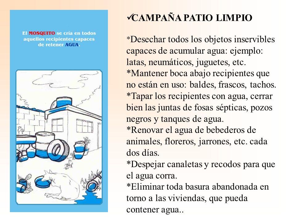 CAMPAÑA PATIO LIMPIO * Desechar todos los objetos inservibles capaces de acumular agua: ejemplo: latas, neumáticos, juguetes, etc.