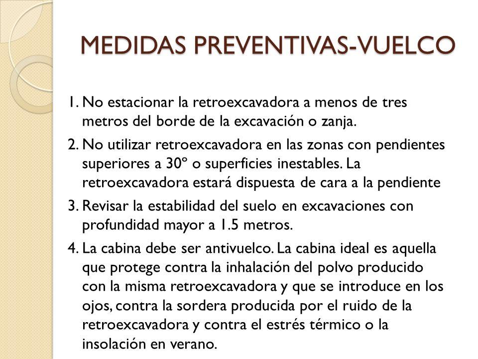 MEDIDAS PREVENTIVAS-VUELCO 1. No estacionar la retroexcavadora a menos de tres metros del borde de la excavación o zanja. 2. No utilizar retroexcavado