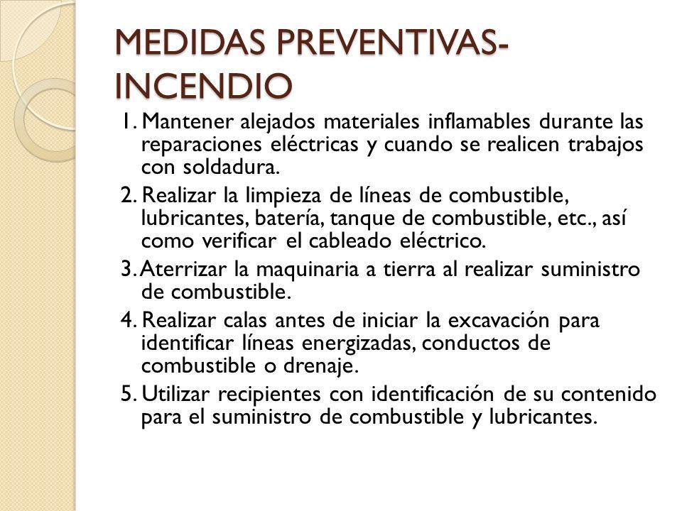 MEDIDAS PREVENTIVAS- INCENDIO 1. Mantener alejados materiales inflamables durante las reparaciones eléctricas y cuando se realicen trabajos con soldad