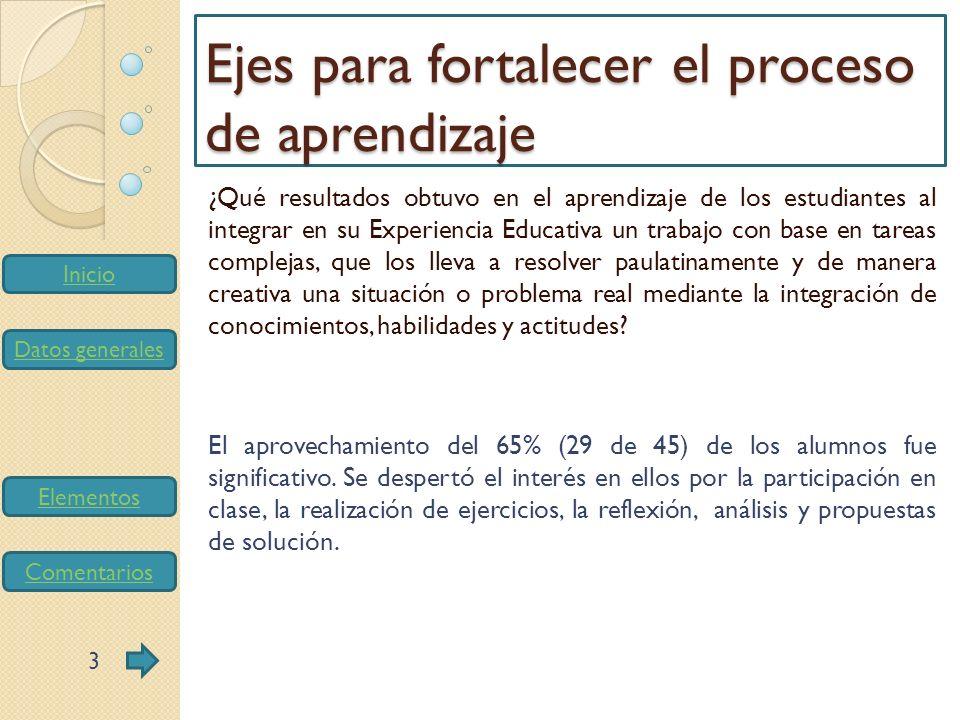Inicio Datos generales Elementos Comentarios ¿Qué resultados obtuvo en el aprendizaje de los estudiantes al integrar métodos, resultados, problemáticas y avances de la investigación como uno de ejes para el diseño de la tarea/proyecto de aprendizaje.