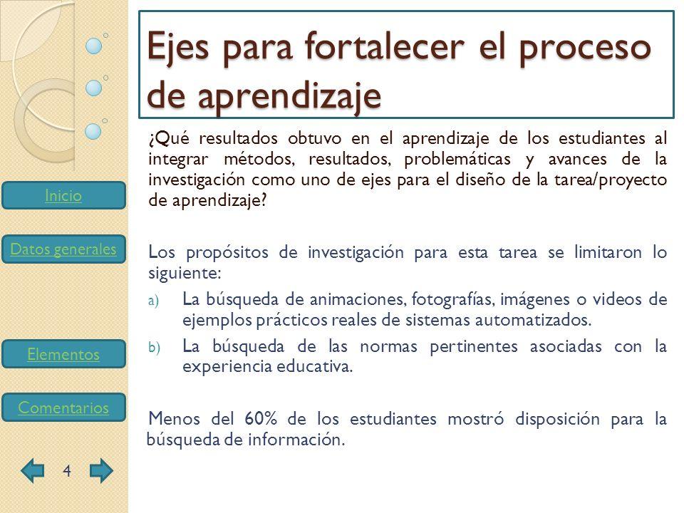 Inicio Datos generales Elementos Comentarios ¿Qué resultados obtuvo en el aprendizaje de los estudiantes al integrar métodos, resultados, problemática