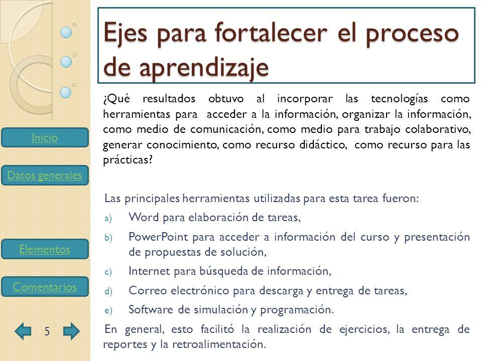 Inicio Datos generales Elementos Comentarios ¿Qué modificaciones propone para mejorar la incorporación de tareas complejas, la vinculación con la investigación y el uso de tecnologías de información y comunicación como ejes que potencian el proceso de aprendizaje en los estudiantes.