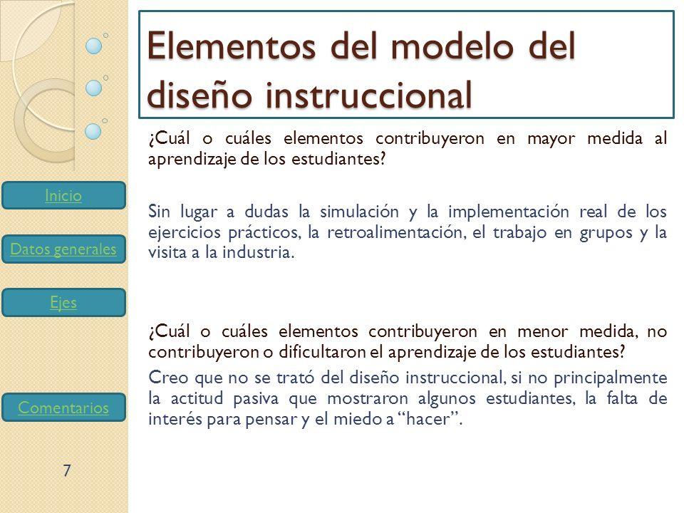 Inicio Datos generales Ejes Comentarios Elementos del modelo del diseño instruccional ¿Cuál o cuáles elementos contribuyeron en mayor medida al aprend