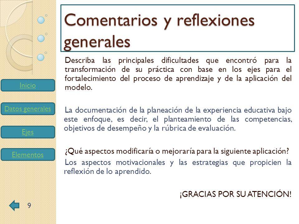 Inicio Datos generales Ejes Elementos Describa las principales dificultades que encontró para la transformación de su práctica con base en los ejes pa