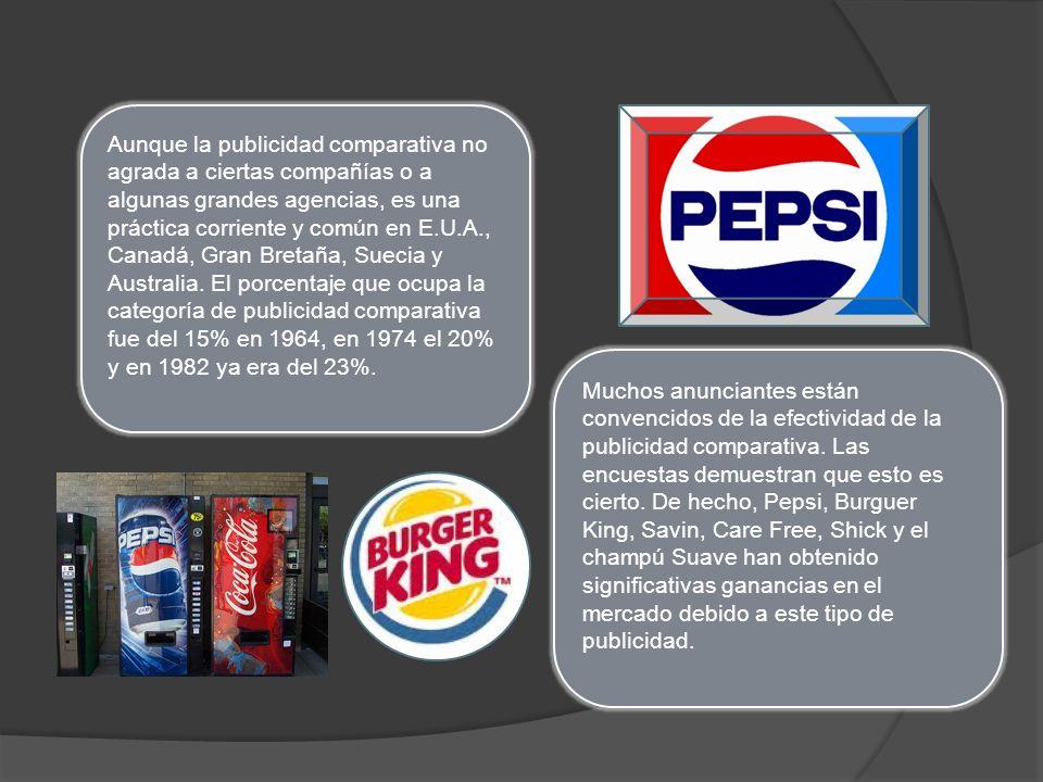 Aunque la publicidad comparativa no agrada a ciertas compañías o a algunas grandes agencias, es una práctica corriente y común en E.U.A., Canadá, Gran