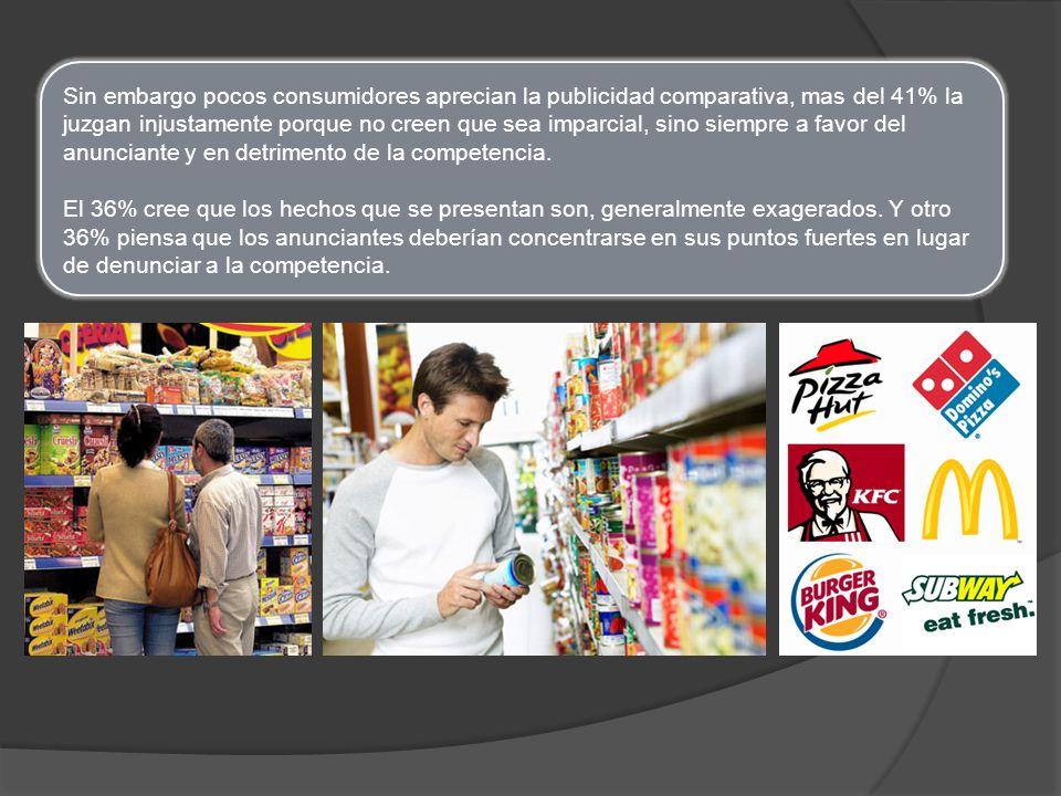Conclusiones La publicidad comparativa busca demostrar una ventaja de la marca anunciada sobre la competencia.