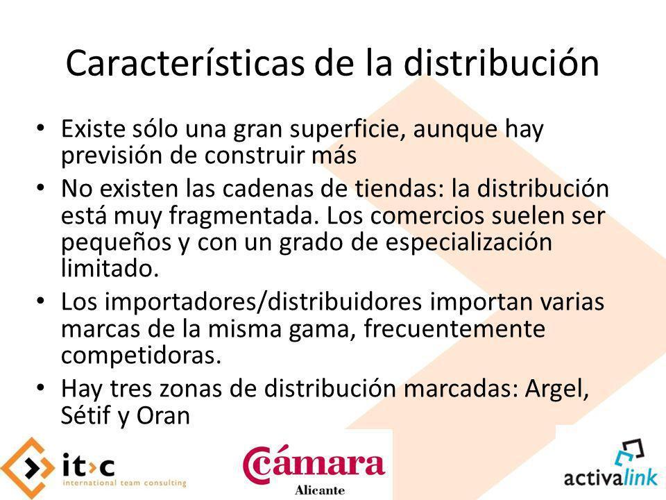 Características de la distribución Existe sólo una gran superficie, aunque hay previsión de construir más No existen las cadenas de tiendas: la distri