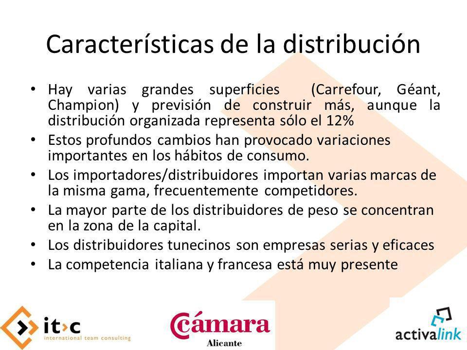 Características de la distribución Hay varias grandes superficies (Carrefour, Géant, Champion) y previsión de construir más, aunque la distribución or