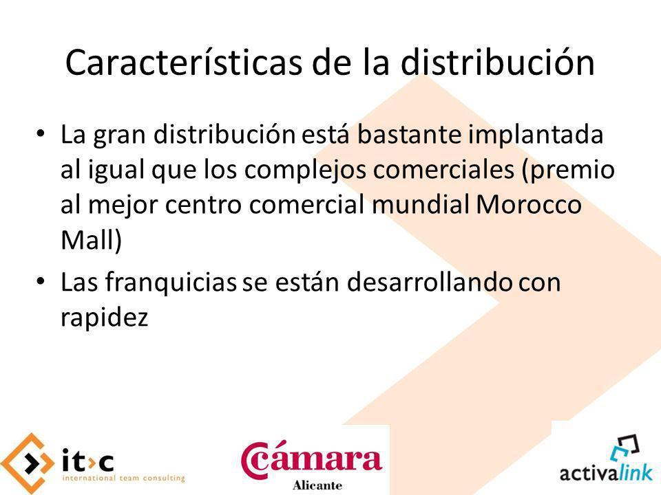 Características de la distribución La gran distribución está bastante implantada al igual que los complejos comerciales (premio al mejor centro comerc