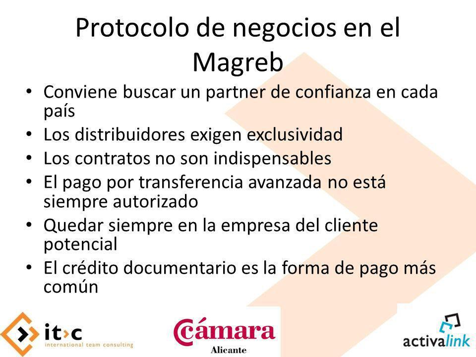 Protocolo de negocios en el Magreb Conviene buscar un partner de confianza en cada país Los distribuidores exigen exclusividad Los contratos no son in