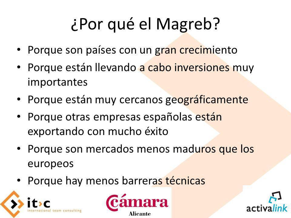 ¿Por qué el Magreb? Porque son países con un gran crecimiento Porque están llevando a cabo inversiones muy importantes Porque están muy cercanos geogr