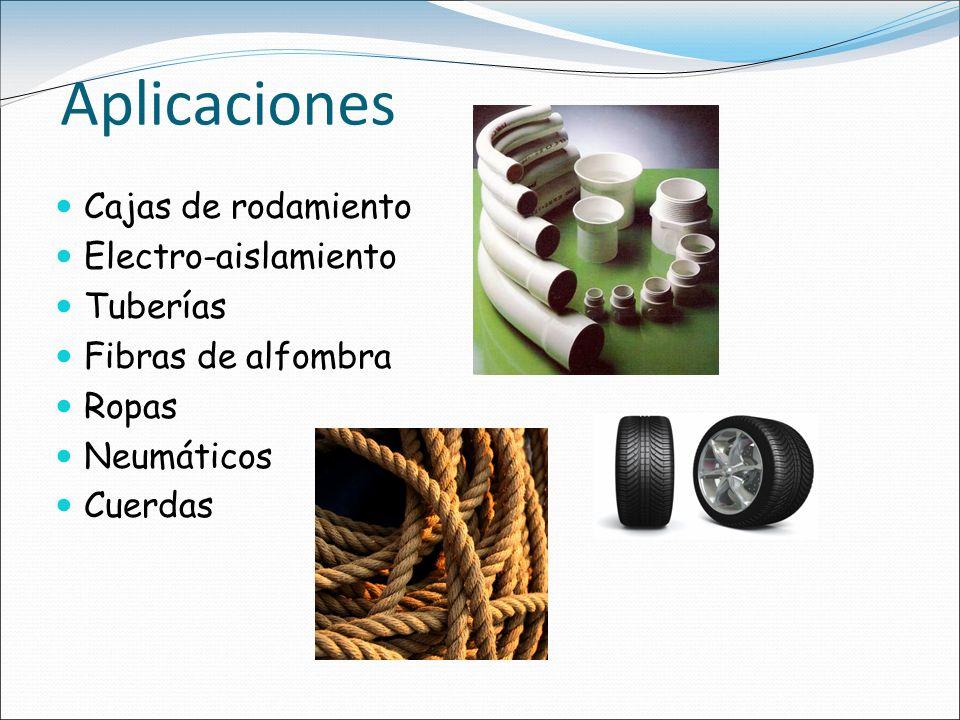 Aplicaciones Cajas de rodamiento Electro-aislamiento Tuberías Fibras de alfombra Ropas Neumáticos Cuerdas