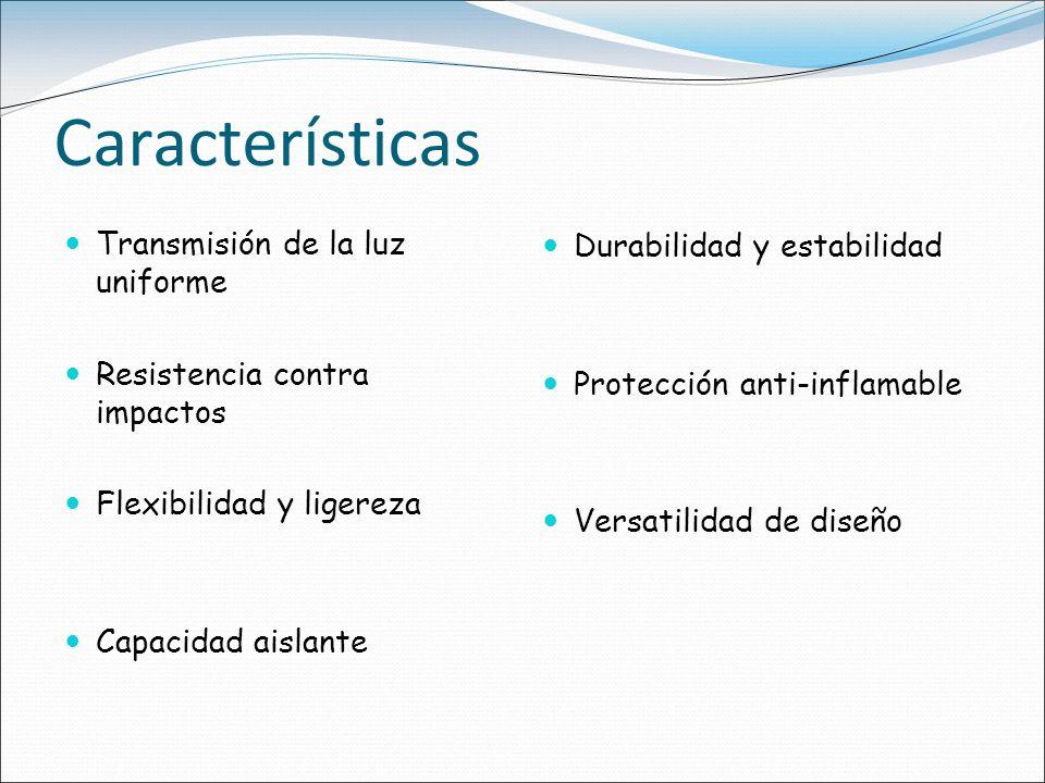 Características Transmisión de la luz uniforme Resistencia contra impactos Flexibilidad y ligereza Capacidad aislante Durabilidad y estabilidad Protec