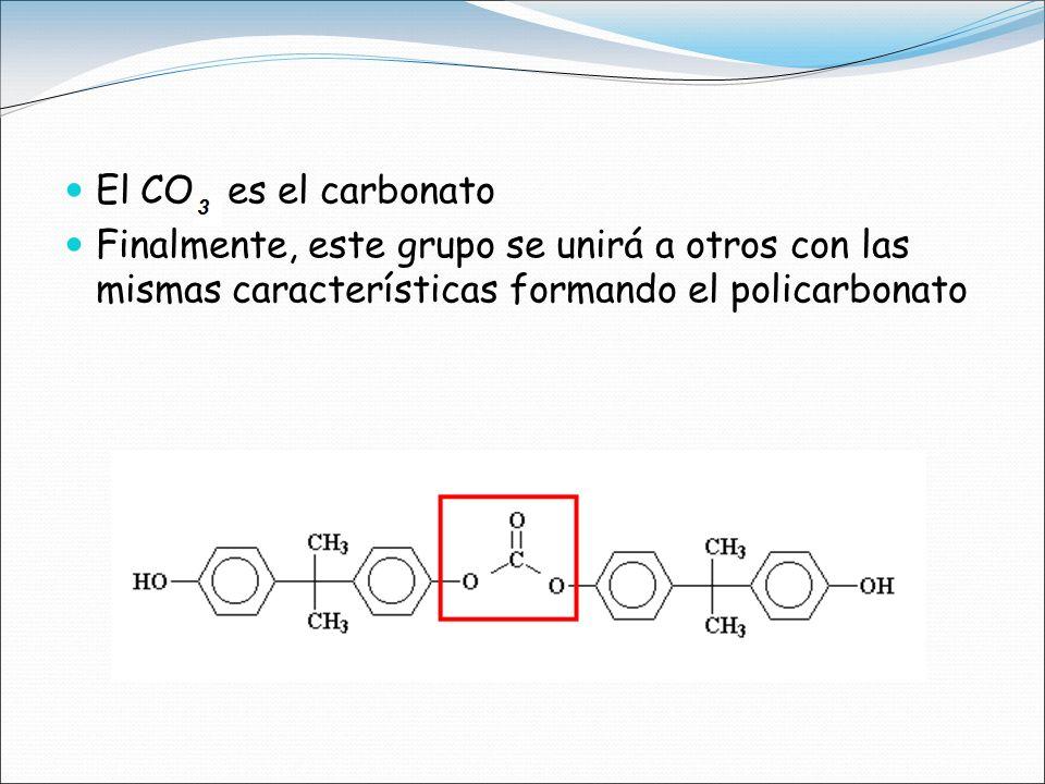 El CO es el carbonato Finalmente, este grupo se unirá a otros con las mismas características formando el policarbonato