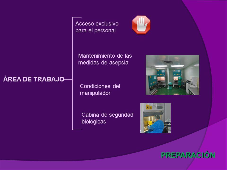 Cabina de seguridad biológicas PREPARACIÓN ÁREA DE TRABAJO Acceso exclusivo para el personal Mantenimiento de las medidas de asepsia Condiciones del m
