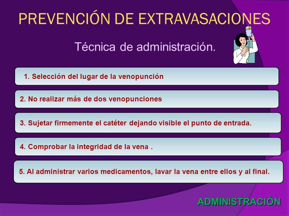 PREVENCIÓN DE EXTRAVASACIONES Técnica de administración. ADMINISTRACIÓN 1. Selección del lugar de la venopunción 2. No realizar más de dos venopuncion