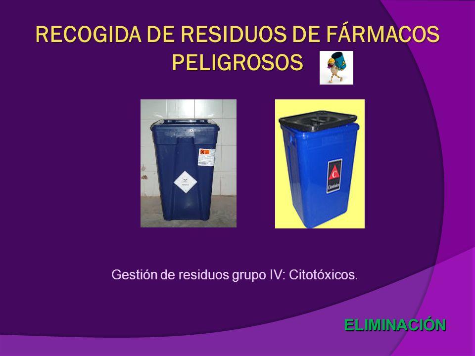 ELIMINACIÓN RECOGIDA DE RESIDUOS DE FÁRMACOS PELIGROSOS Gestión de residuos grupo IV: Citotóxicos.