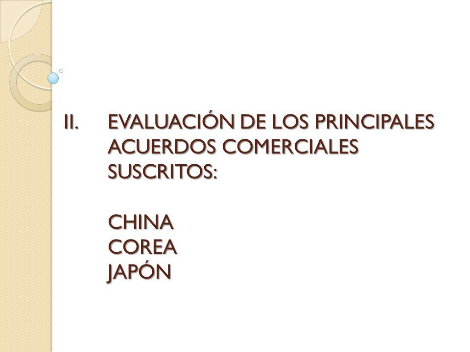 II.EVALUACIÓN DE LOS PRINCIPALES ACUERDOS COMERCIALES SUSCRITOS: CHINA COREA JAPÓN