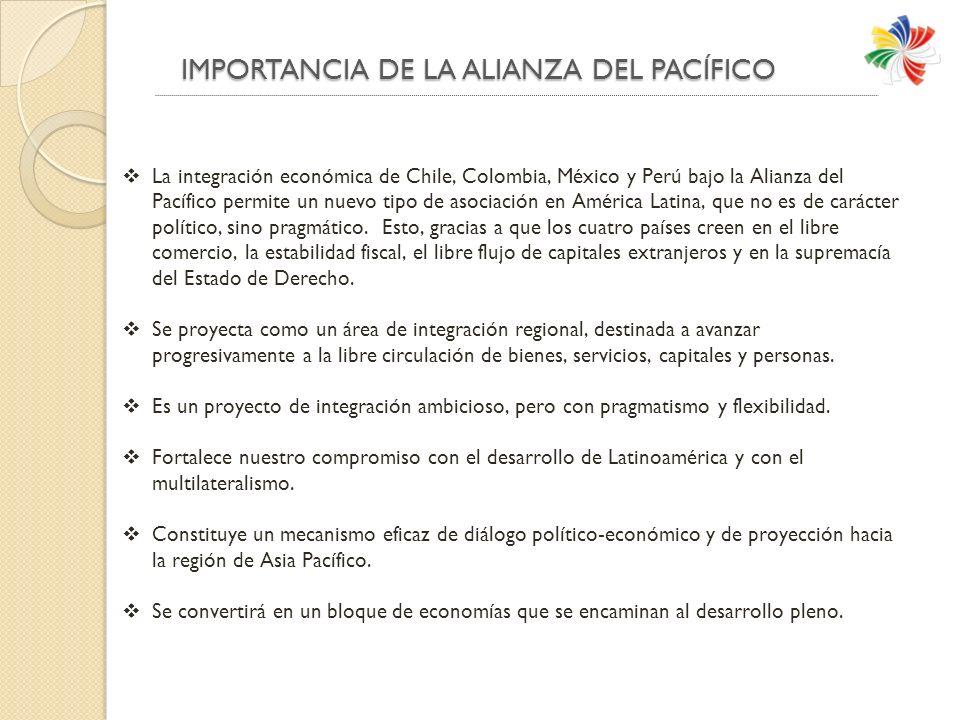 IMPORTANCIA DE LA ALIANZA DEL PACÍFICO IMPORTANCIA DE LA ALIANZA DEL PACÍFICO La integración económica de Chile, Colombia, México y Perú bajo la Alianza del Pacífico permite un nuevo tipo de asociación en América Latina, que no es de carácter político, sino pragmático.