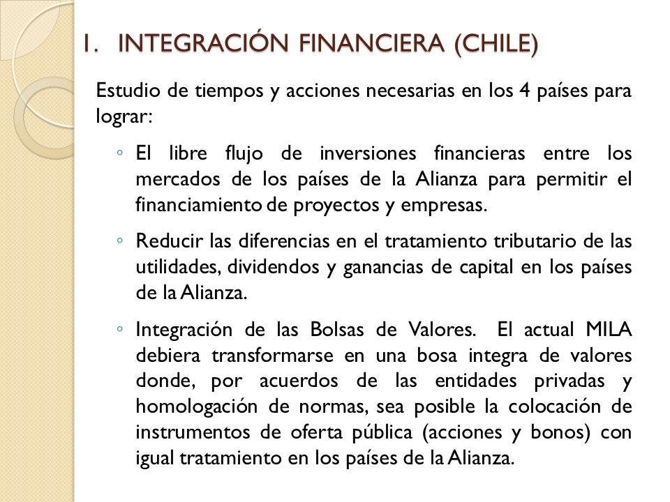 1.INTEGRACIÓN FINANCIERA (CHILE) Estudio de tiempos y acciones necesarias en los 4 países para lograr: El libre flujo de inversiones financieras entre los mercados de los países de la Alianza para permitir el financiamiento de proyectos y empresas.