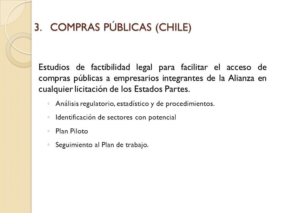 3.COMPRAS PÚBLICAS (CHILE) Estudios de factibilidad legal para facilitar el acceso de compras públicas a empresarios integrantes de la Alianza en cualquier licitación de los Estados Partes.