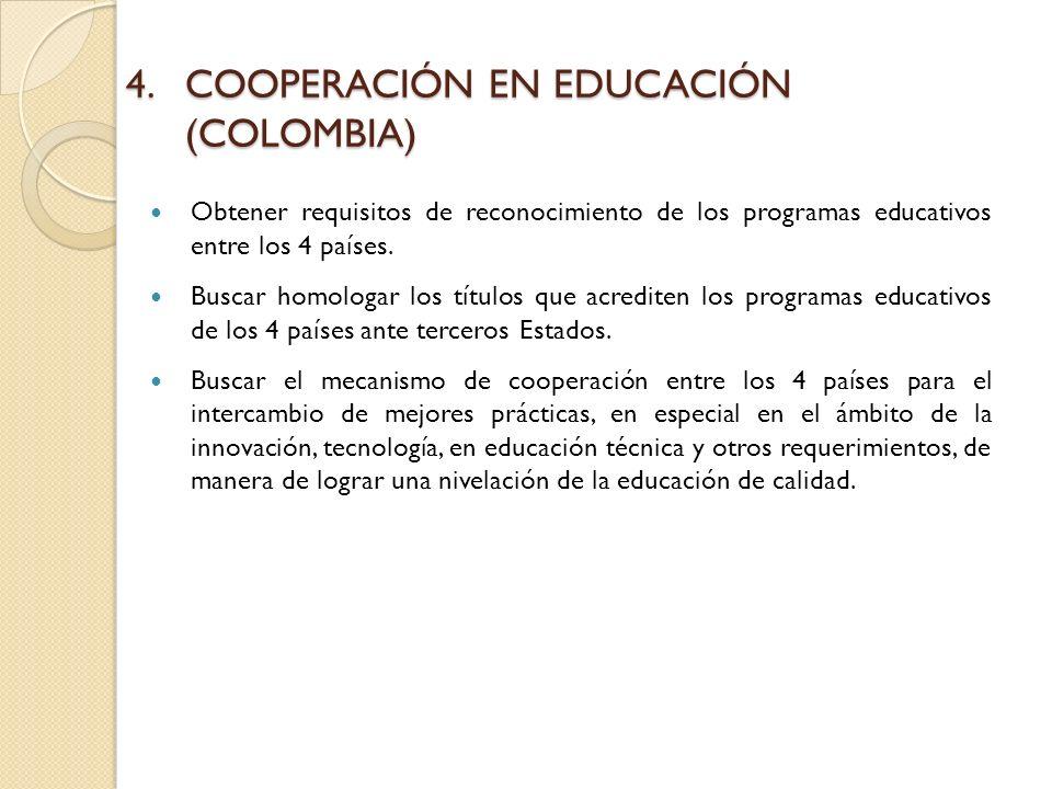 4.COOPERACIÓN EN EDUCACIÓN (COLOMBIA) Obtener requisitos de reconocimiento de los programas educativos entre los 4 países.