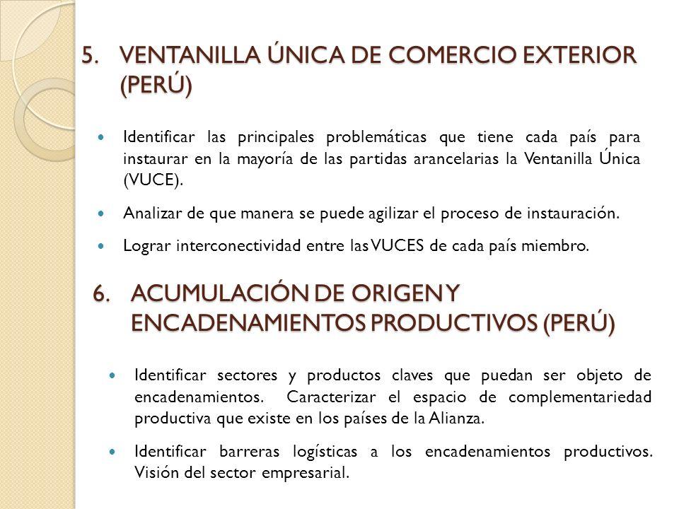 5.VENTANILLA ÚNICA DE COMERCIO EXTERIOR (PERÚ) Identificar las principales problemáticas que tiene cada país para instaurar en la mayoría de las partidas arancelarias la Ventanilla Única (VUCE).