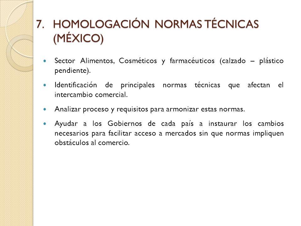 7.HOMOLOGACIÓN NORMAS TÉCNICAS (MÉXICO) Sector Alimentos, Cosméticos y farmacéuticos (calzado – plástico pendiente).