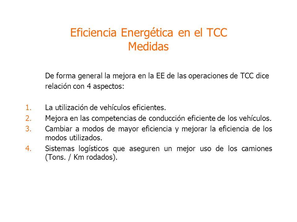 Eficiencia Energética en el TCC Medidas De forma general la mejora en la EE de las operaciones de TCC dice relación con 4 aspectos: 1.La utilización de vehículos eficientes.