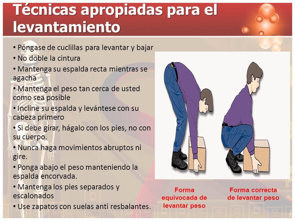 Técnicas apropiadas para el levantamiento Póngase de cuclillas para levantar y bajar No doble la cintura Mantenga su espalda recta mientras se agacha