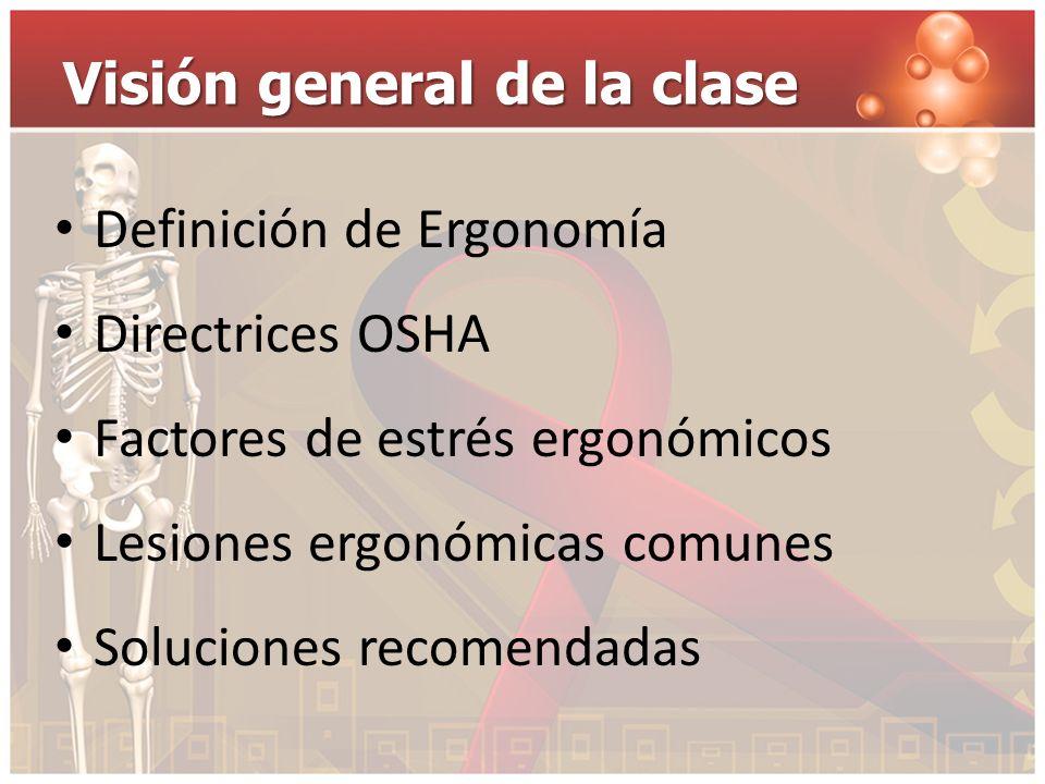 Visión general de la clase Definición de Ergonomía Directrices OSHA Factores de estrés ergonómicos Lesiones ergonómicas comunes Soluciones recomendada