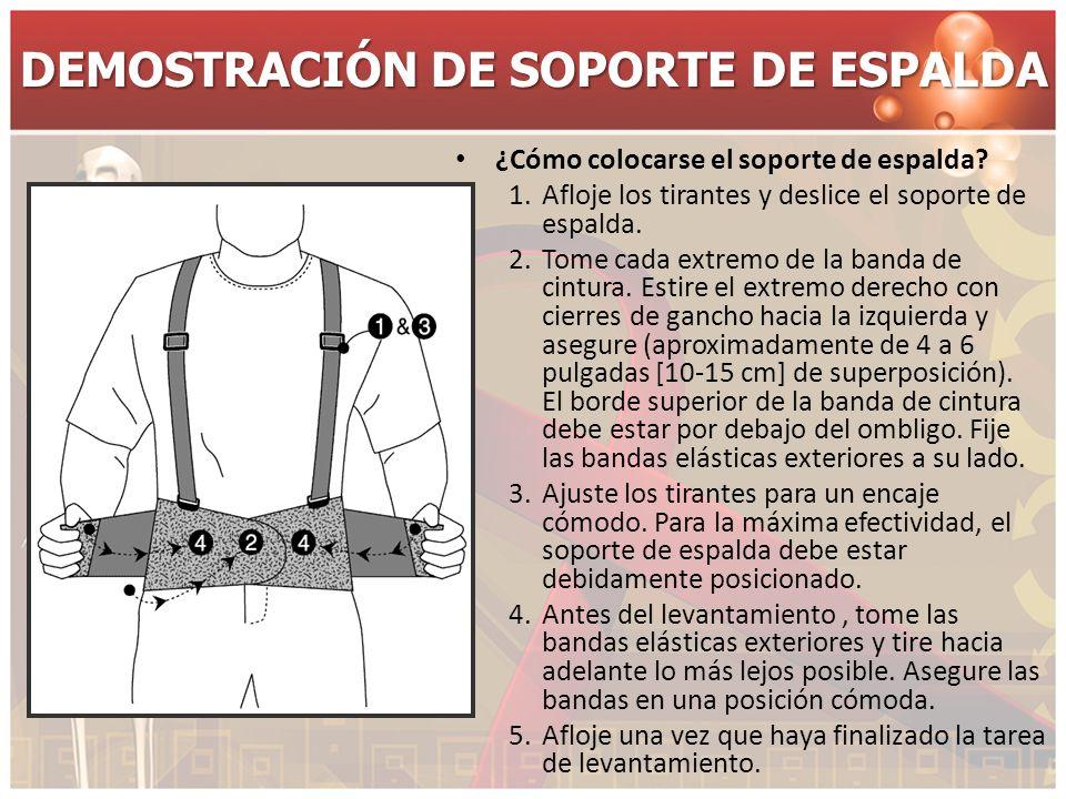 DEMOSTRACIÓN DE SOPORTE DE ESPALDA ¿Cómo colocarse el soporte de espalda? 1.Afloje los tirantes y deslice el soporte de espalda. 2.Tome cada extremo d
