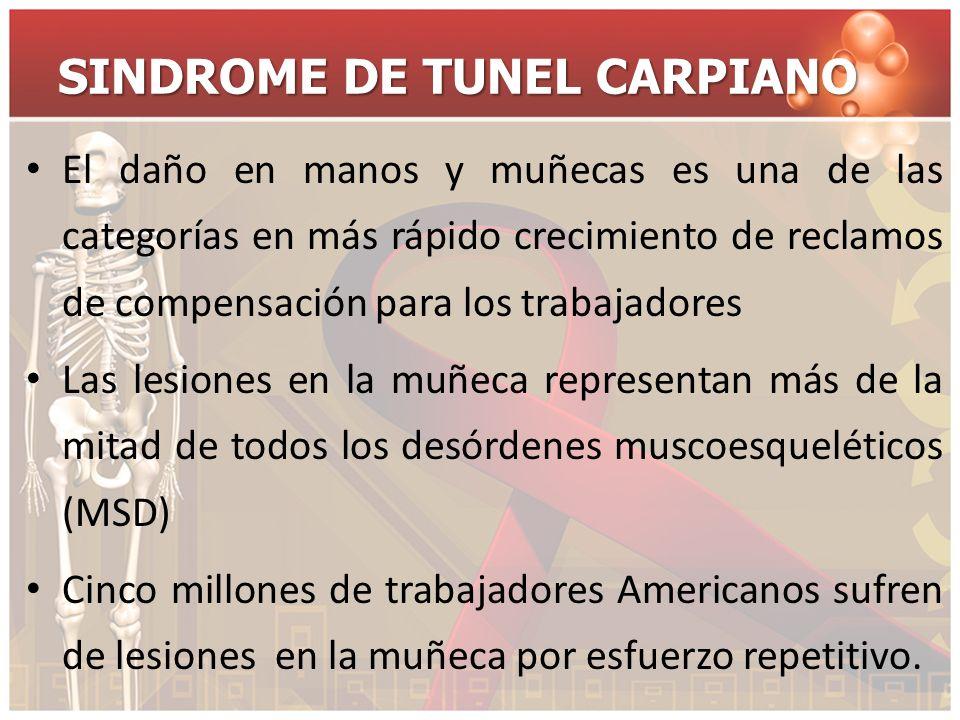 SINDROME DE TUNEL CARPIANO El daño en manos y muñecas es una de las categorías en más rápido crecimiento de reclamos de compensación para los trabajad
