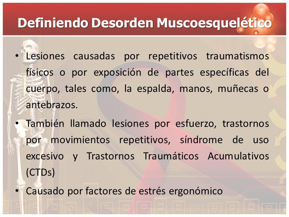 Definiendo Desorden Muscoesquelético Lesiones causadas por repetitivos traumatismos físicos o por exposición de partes específicas del cuerpo, tales c