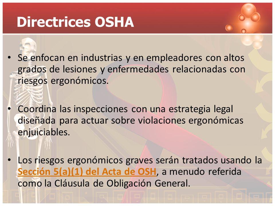 Directrices OSHA Se enfocan en industrias y en empleadores con altos grados de lesiones y enfermedades relacionadas con riesgos ergonómicos. Coordina