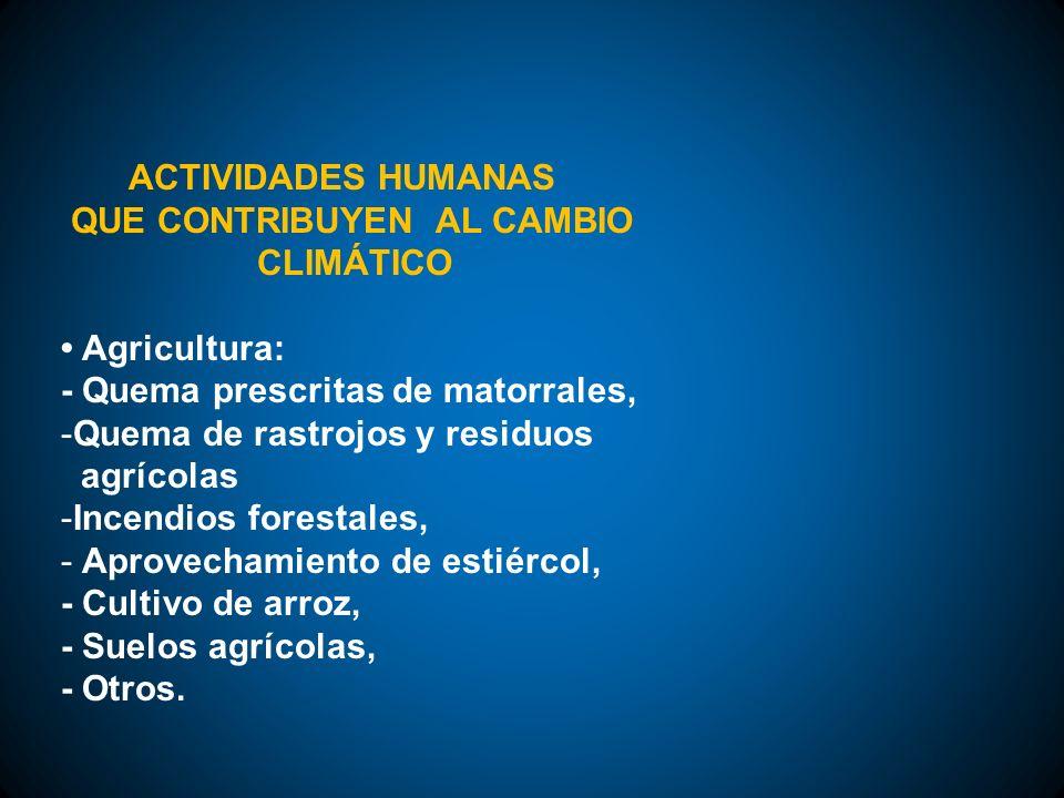 ACTIVIDADES HUMANAS QUE CONTRIBUYEN AL CAMBIO CLIMÁTICO Agricultura: - Quema prescritas de matorrales, -Quema de rastrojos y residuos agrícolas -Incen