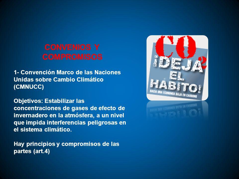 CONVENIOS Y COMPROMISOS 1- Convención Marco de las Naciones Unidas sobre Cambio Climático (CMNUCC) Objetivos: Estabilizar las concentraciones de gases