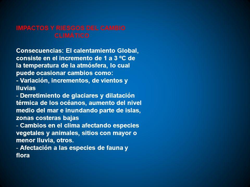 IMPACTOS Y RIESGOS DEL CAMBIO CLIMÁTICO Consecuencias: El calentamiento Global, consiste en el incremento de 1 a 3 ºC de la temperatura de la atmósfer