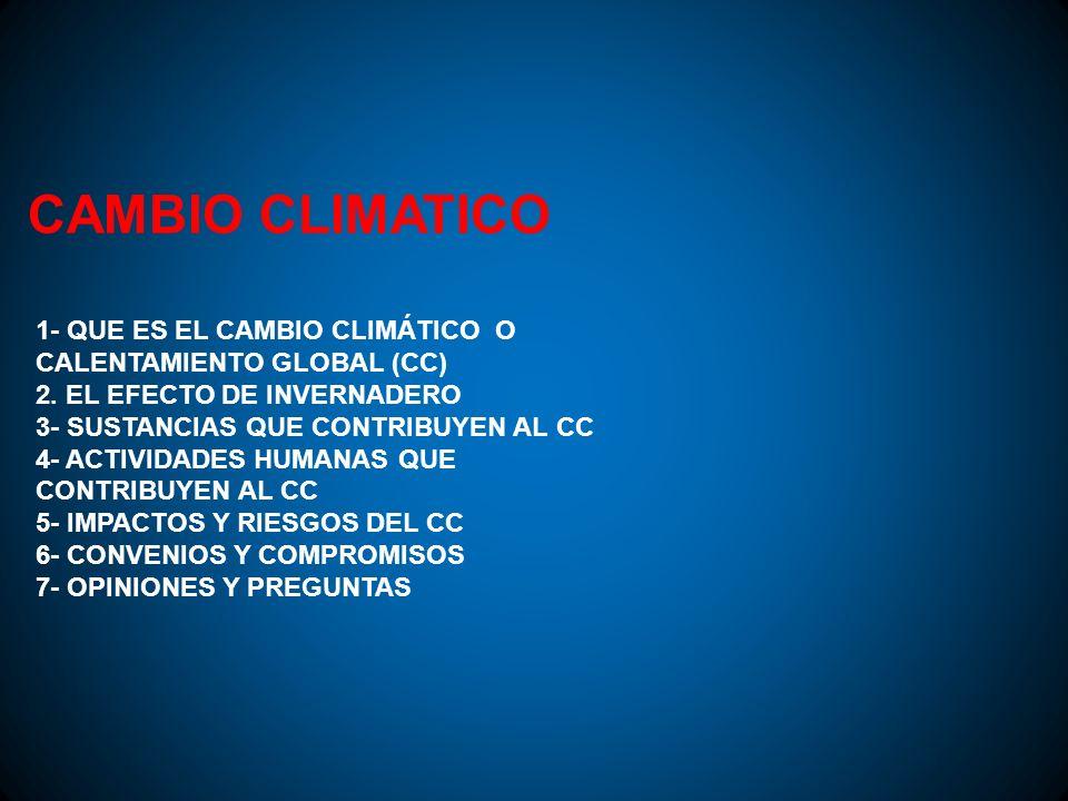 CAMBIO CLIMATICO 1- QUE ES EL CAMBIO CLIMÁTICO O CALENTAMIENTO GLOBAL (CC) 2. EL EFECTO DE INVERNADERO 3- SUSTANCIAS QUE CONTRIBUYEN AL CC 4- ACTIVIDA