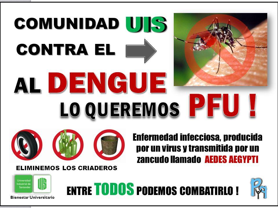 ENTRE TODOS PODEMOS COMBATIRLO ! Enfermedad infecciosa, producida por un virus y transmitida por un zancudo llamado AEDES AEGYPTI CONTRA EL ELIMINEMOS