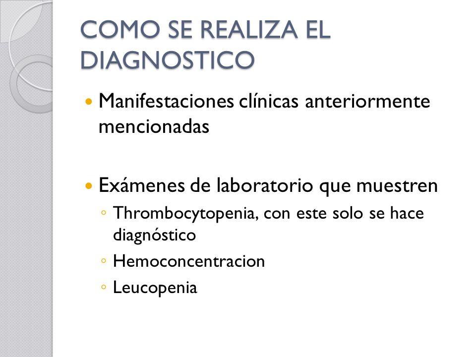 COMO SE REALIZA EL DIAGNOSTICO Manifestaciones clínicas anteriormente mencionadas Exámenes de laboratorio que muestren Thrombocytopenia, con este solo