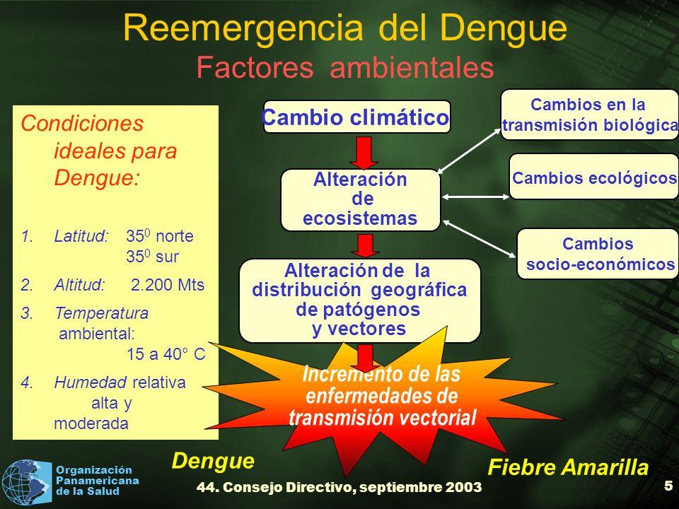Organización Panamericana de la Salud 44. Consejo Directivo, septiembre 2003 5 Alteración de la distribución geográfica de patógenos y vectores Condic