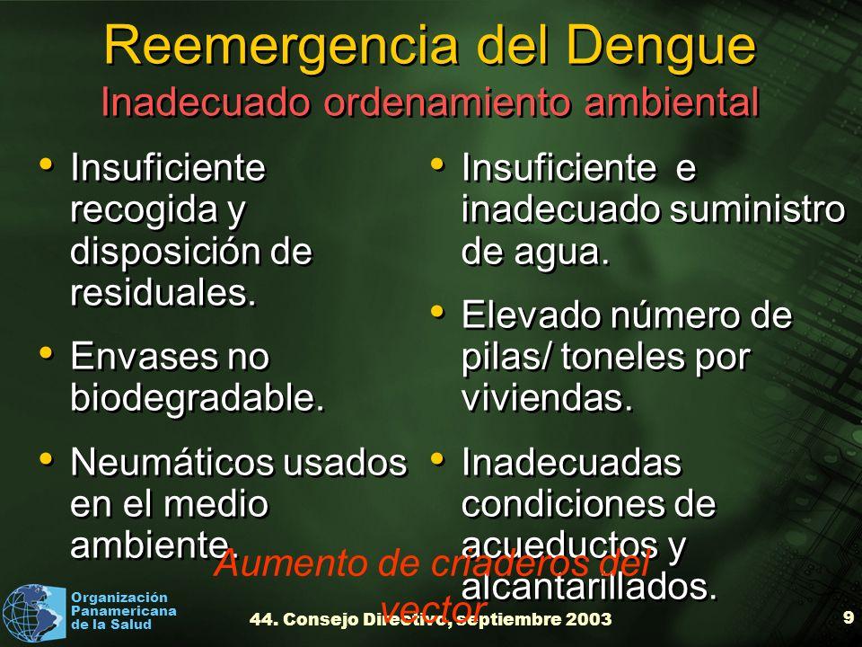 Organización Panamericana de la Salud 44. Consejo Directivo, septiembre 2003 9 Reemergencia del Dengue Inadecuado ordenamiento ambiental Insuficiente