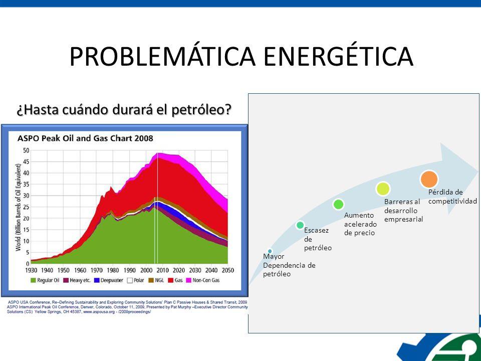 PROBLEMÁTICA ENERGÉTICA Mayor Dependencia de petróleo Escasez de petróleo Aumento acelerado de precio Barreras al desarrollo empresarial Pérdida de co